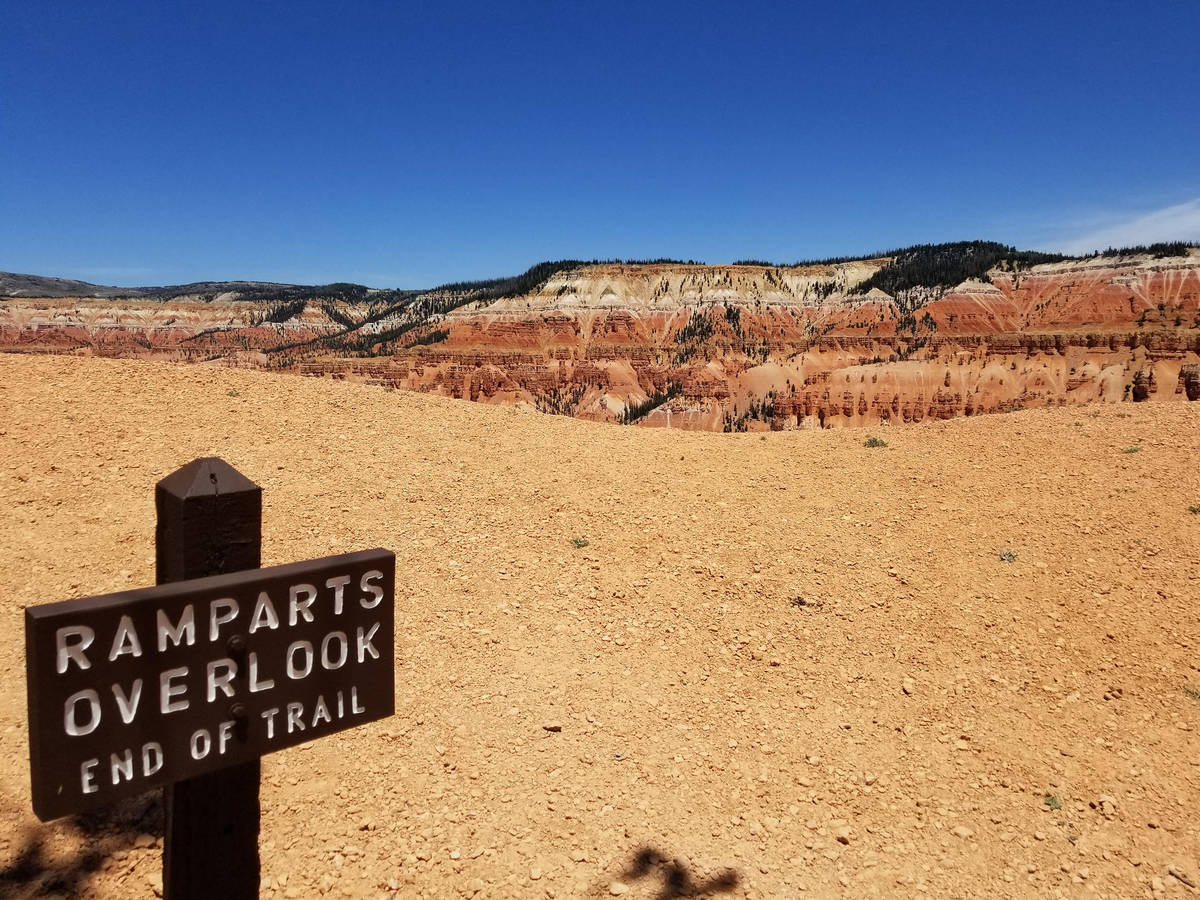 At Ramparts Trail's end, hikers are treated to a splendid perspective of spectacular geo ...