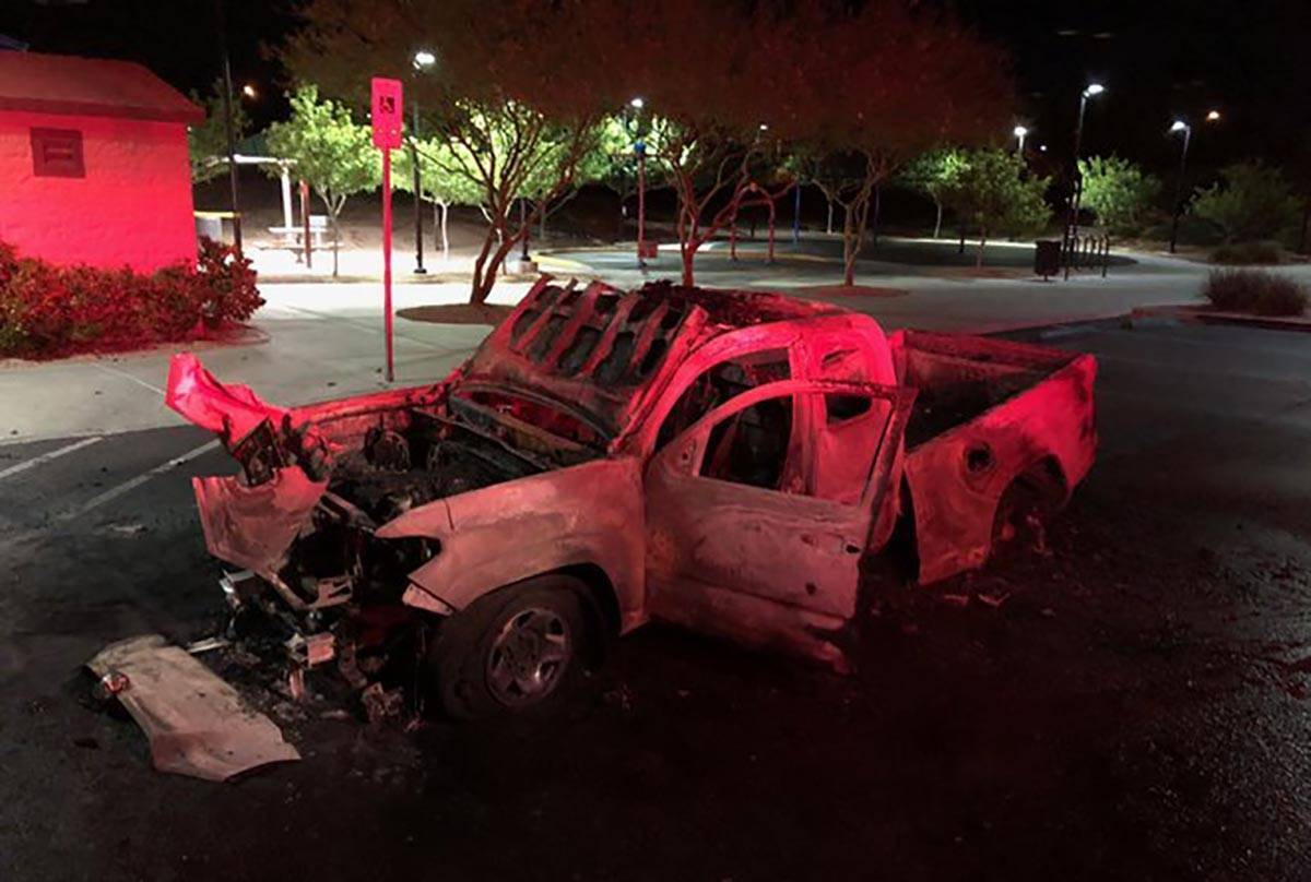 Fireworks ignited and destroyed a pickup in northwest Las Vegas early Thursday, July 2, 2020, a ...
