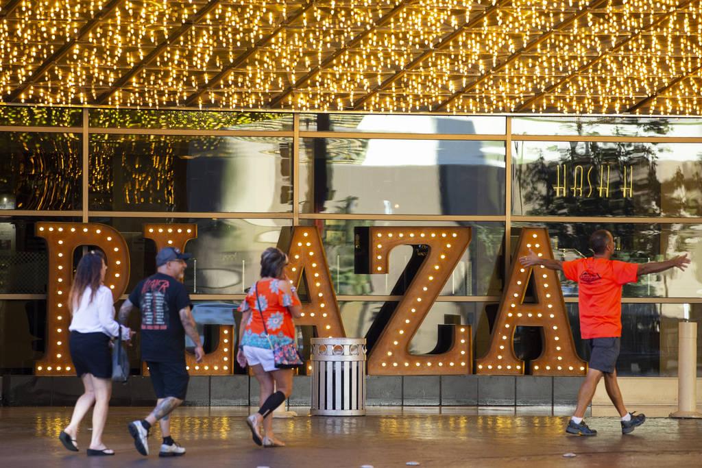 The Plaza hotel-casino in Las Vegas, Thursday, July 1, 2021. (Erik Verduzco / Las Vegas Review- ...