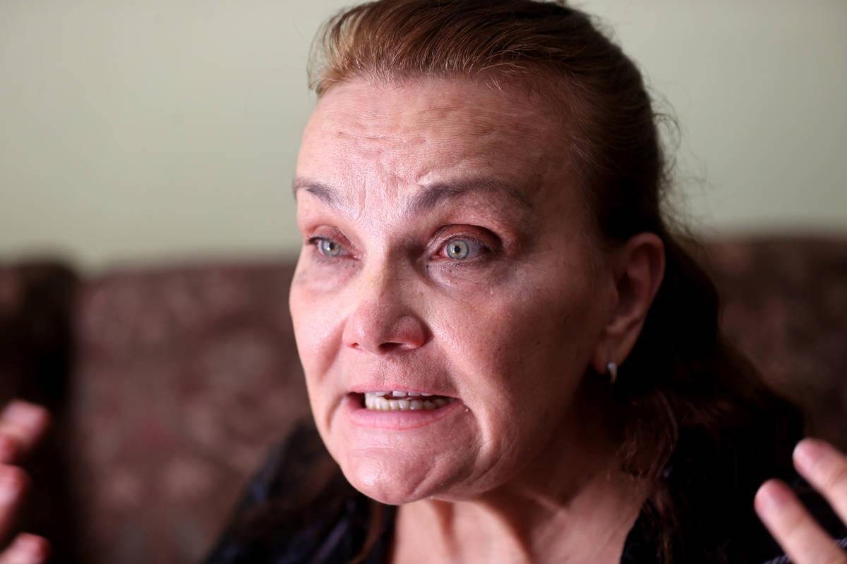 Lyubov Abato talks to a reporter at her Las Vegas home Friday, June 2, 2021. Abato said her hea ...