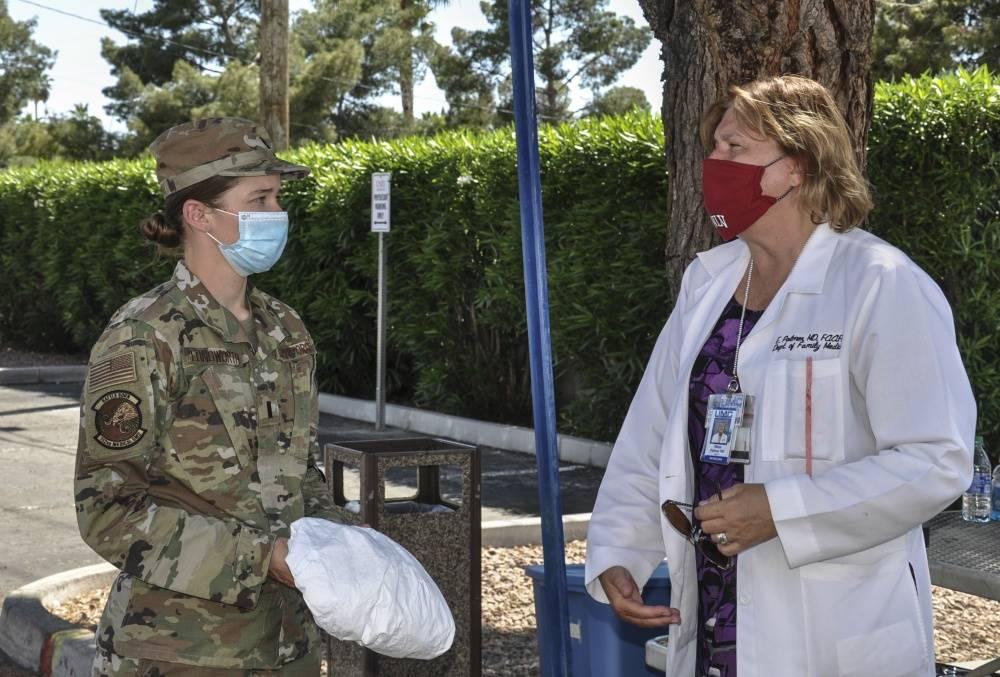 Caleena Longworth talks with Dr. Elissa Palmer, chair of the Kirk Kerkorian School of Medicine ...
