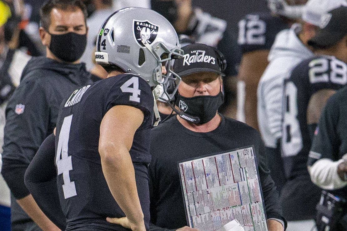 Raiders head coach Jon Gruden, right, and quarterback Derek Carr (4) look on during the second ...