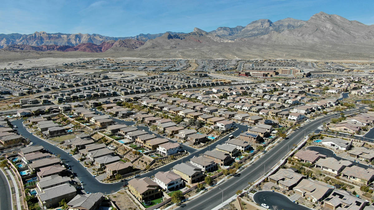 An aerial view of housing developments near Paseos Park in Summerlin on Tuesday, February 23, 2 ...