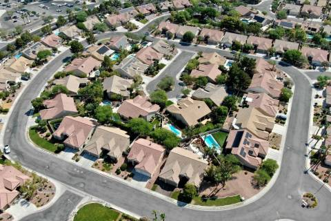 An aerial view of housing near Paseo Verde Parkway in Henderson, Nevada on Tuesday, June 29, 20 ...