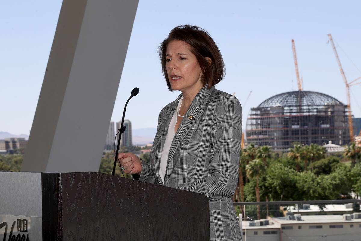 Sen. Catherine Cortez Masto, D-Nev., speaks on The Terrace during a tour of the West Hall expan ...