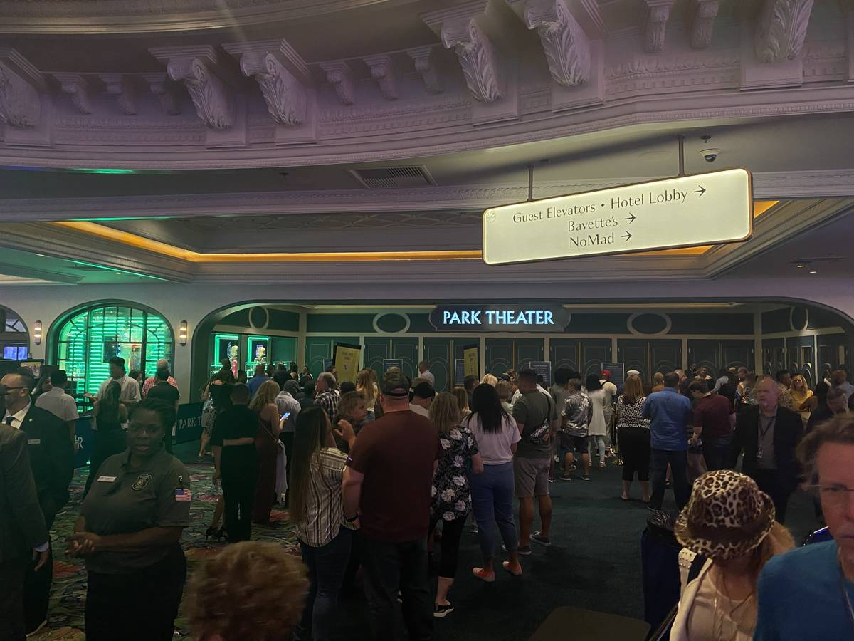 Fans line up for the Bruno Mars show at Park Theater at Park MGM on Saturday, July 3, 2021. (Jo ...