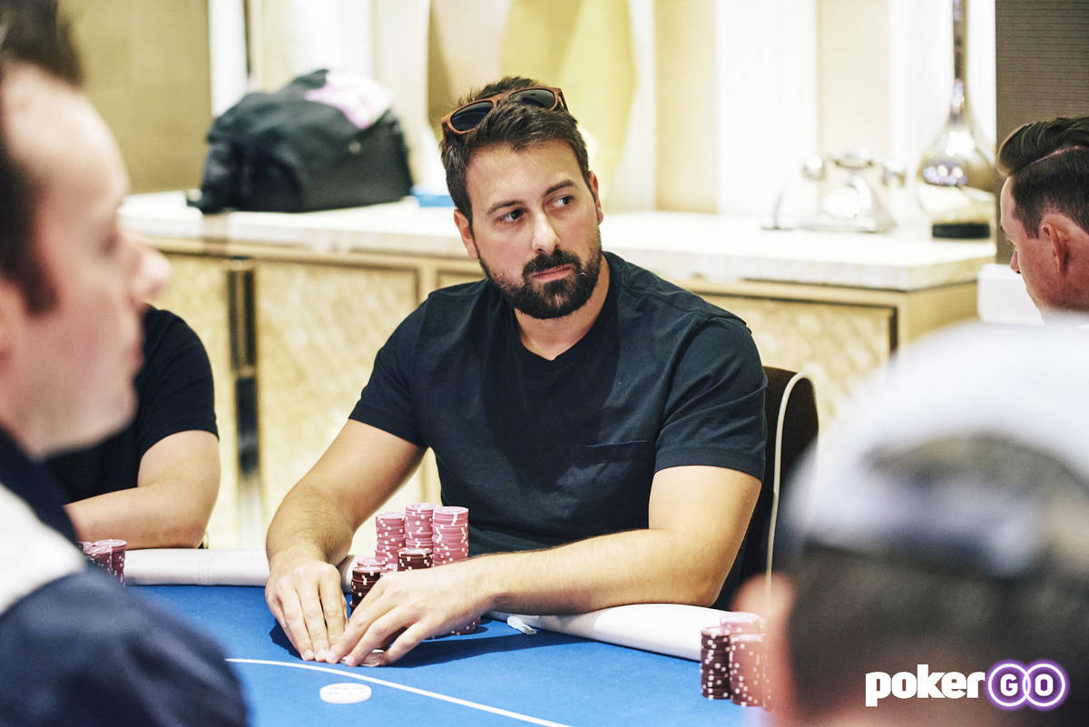 Clayton Maguire plays on an earlier day of the Wynn Millions. (Antonio Abrego/PokerGO)