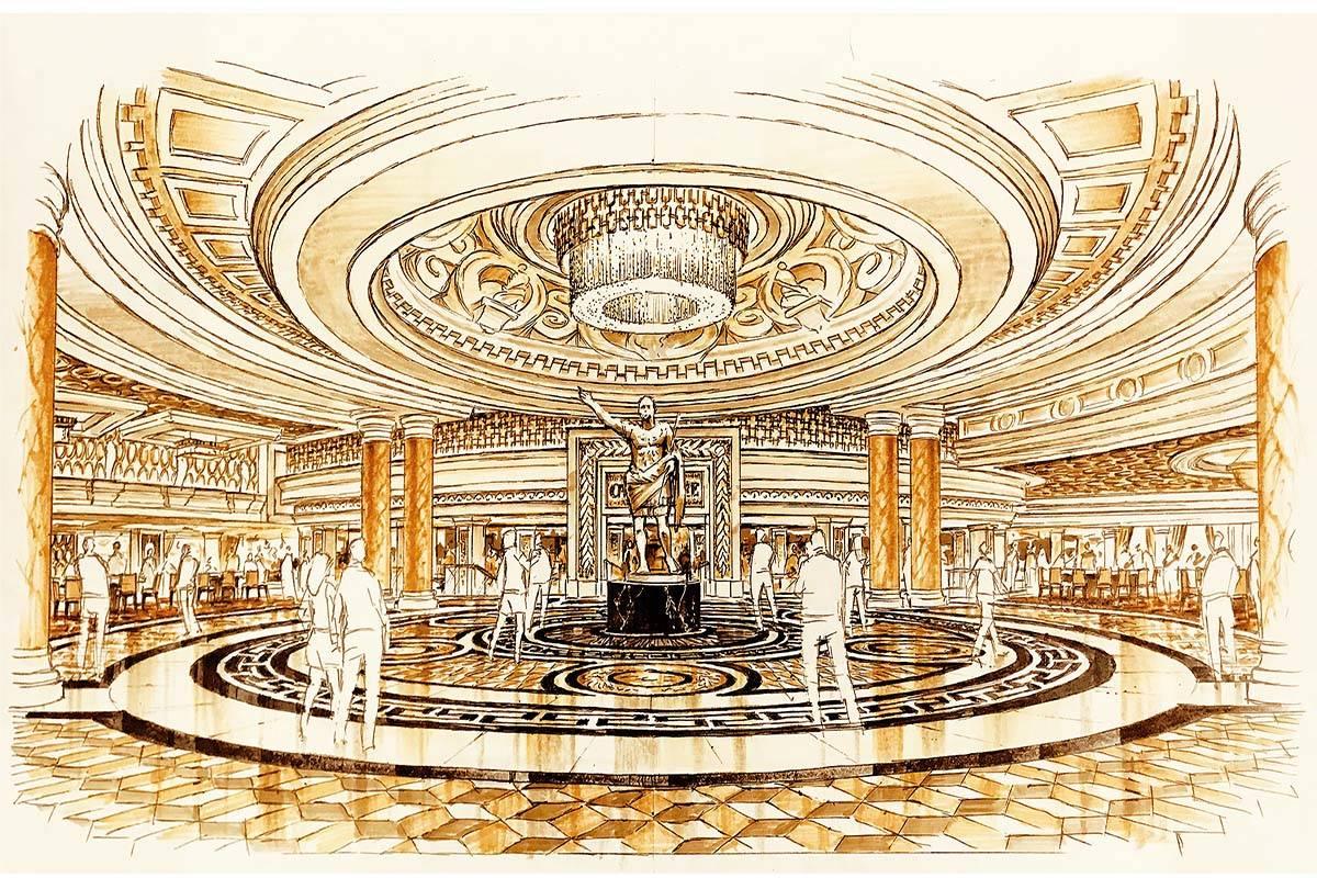 A rendering of the renovated entrance at Caesars Palace. (Allard & Conversano Design)