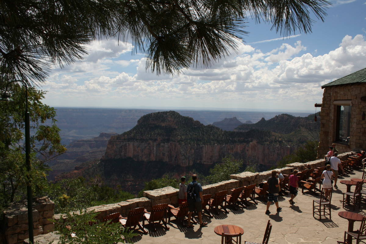 The patio at the Grand Canyon Lodge is a wonderful place to relax and take in the far-reaching ...