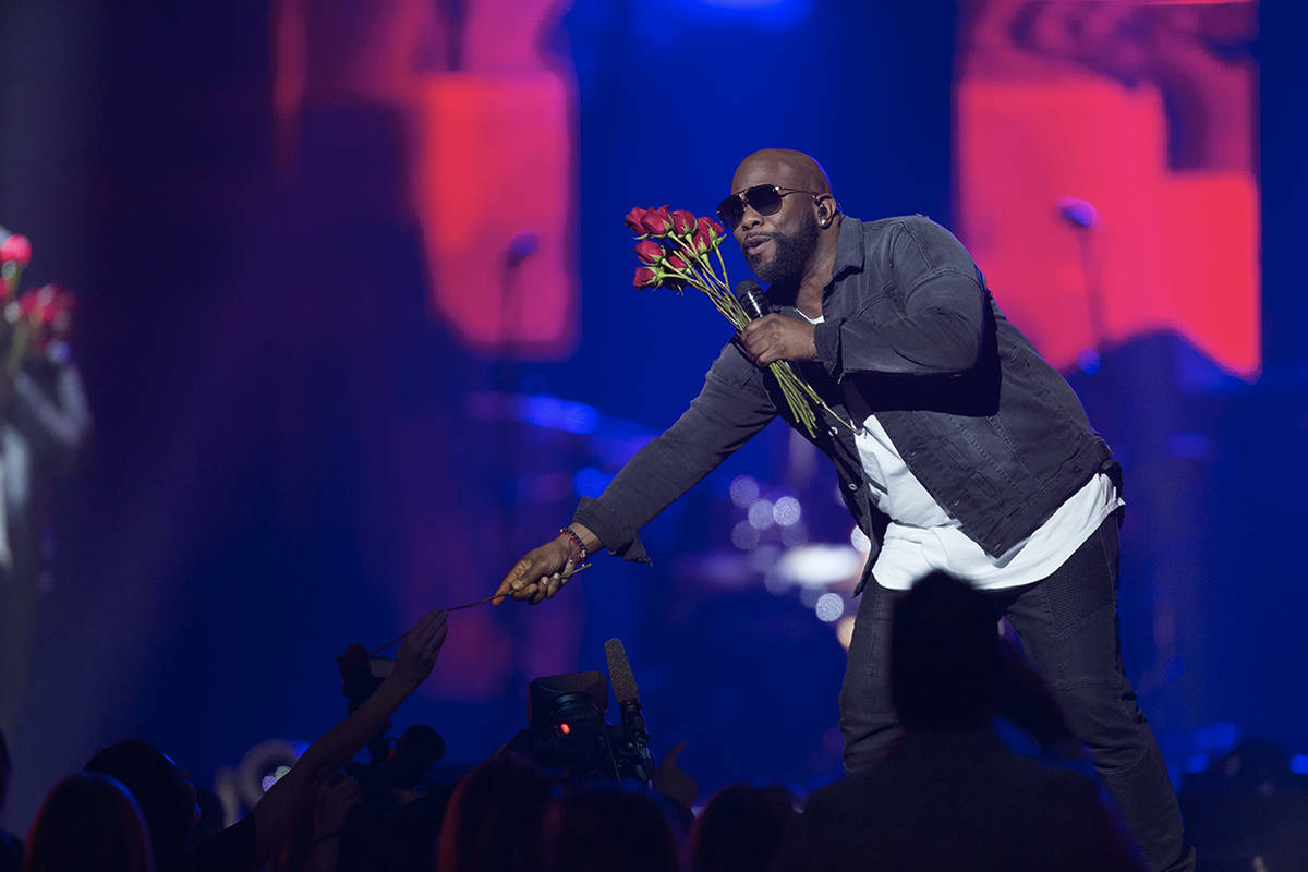 Wanya Morris of Boyz II Men performs at the Vegas Strong Benefit concert at the T-Mobile Arena, ...