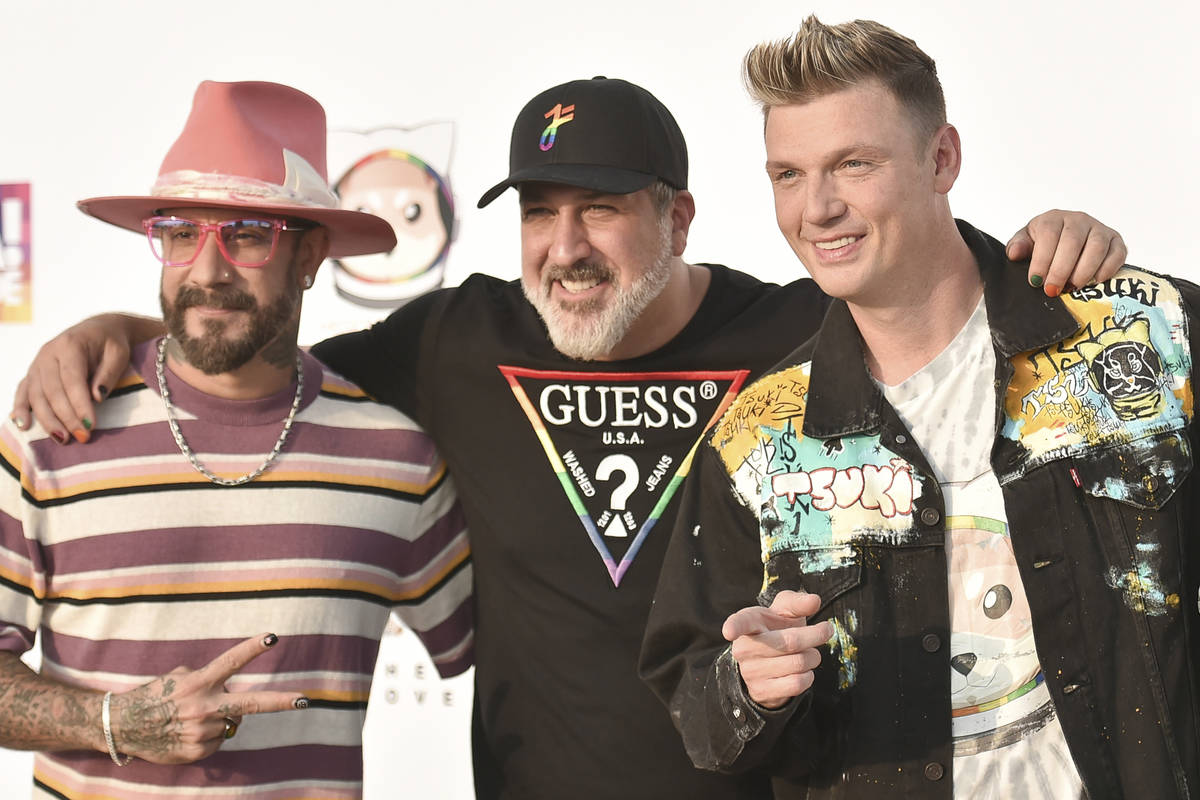 AJ McLean, from left, Joey Fatone, and Nick Carter attend Bingo Under the Stars on Friday, June ...