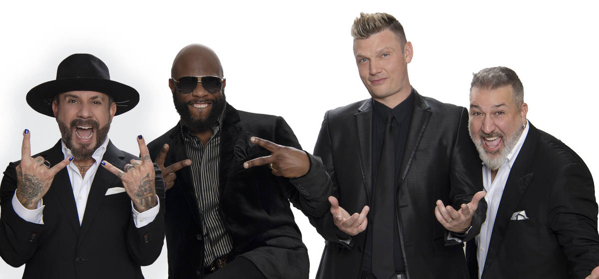 """AJ McLean, Wanya Morris, Nick Carter and Joey Fatone are shown in a promotional photo for """"Af ..."""