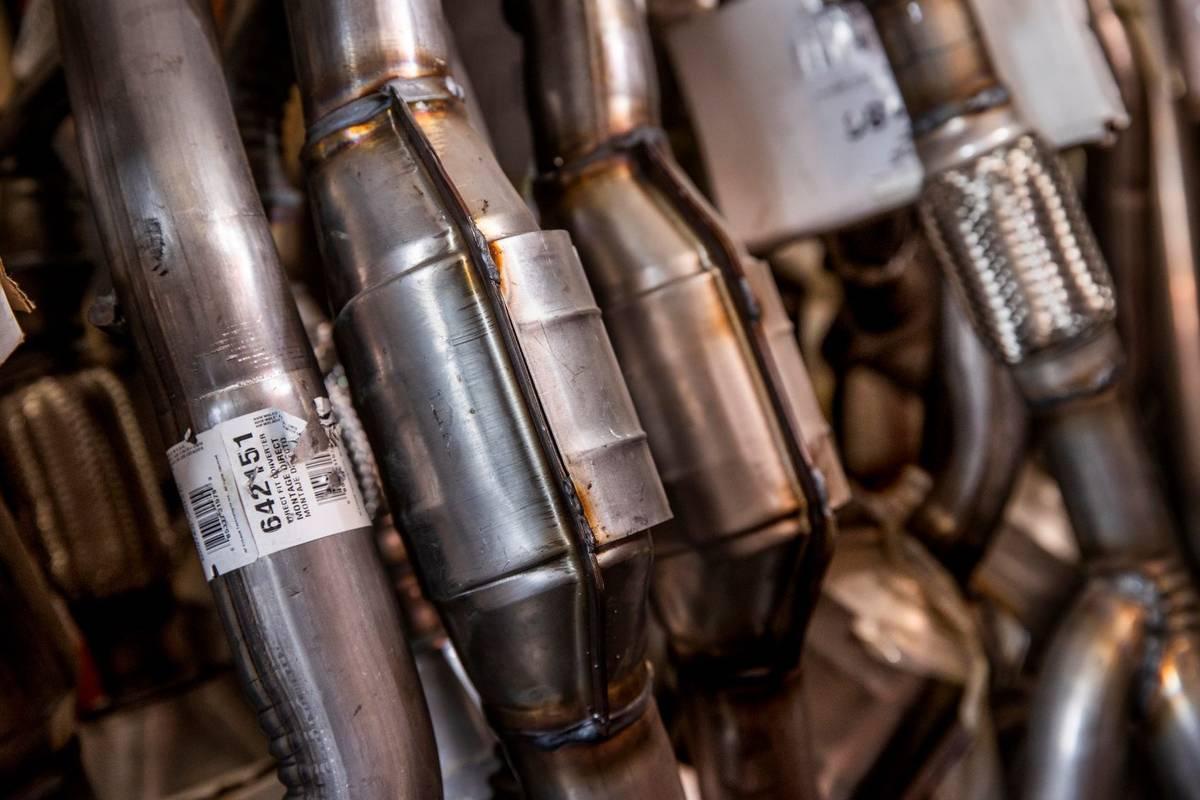 Catalytic converters are seen at the Supreme Automotive Warehouse. (L.E. Baskow/Las Vegas Revie ...