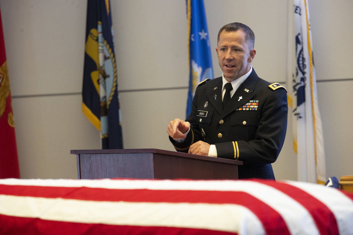 Chaplain Troy Dandrea speaks during a funeral service for retired Nevada National Guard member ...