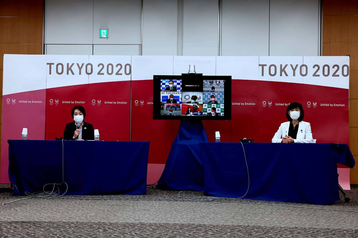Tokyo 2020 president Seiko Hashimoto, left, and Tokyo Olympics Minister Tamayo Marukawa attend ...