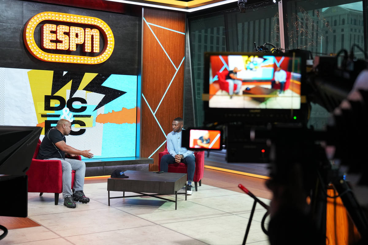 Ryan Clark and Daniel Cormier reherse for their new show,'DC & RC', on ESPN-Plus. (Al Power ...