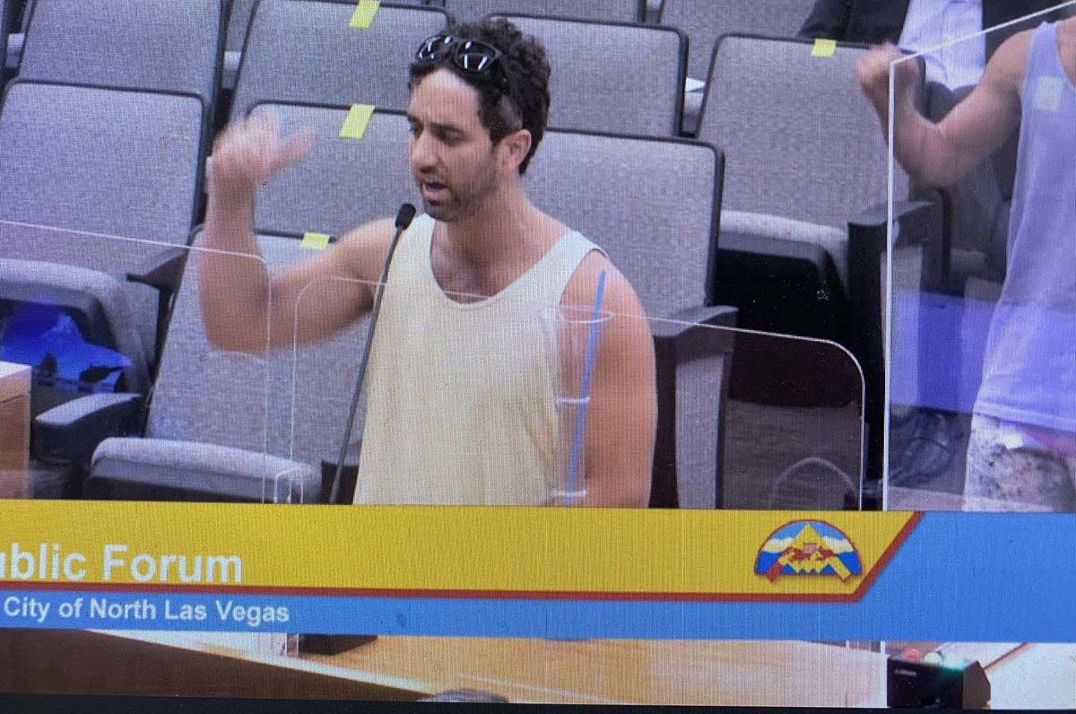 JT speaks during the North Las Vegas City Council meeting. (Blake Apgar)