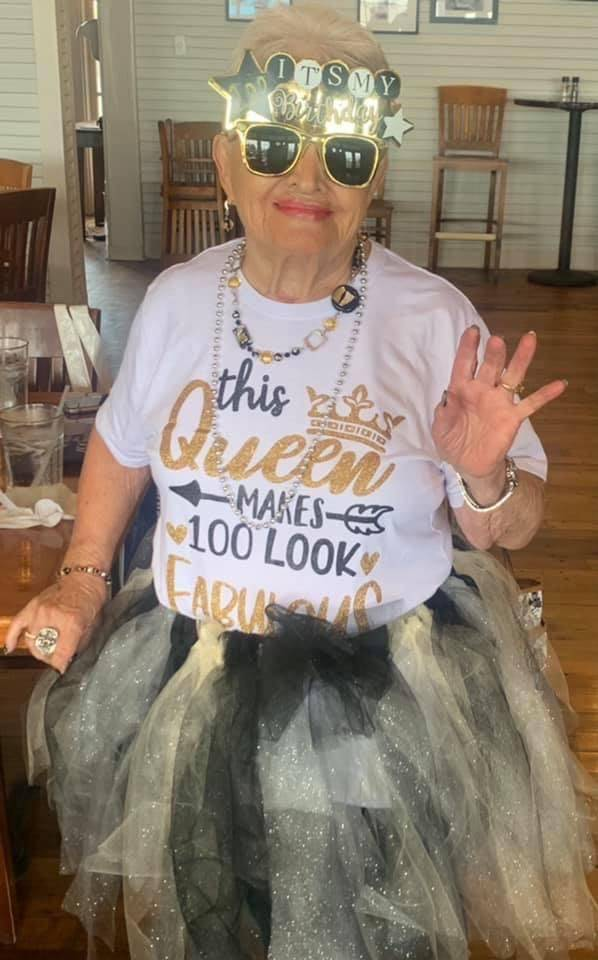 Arlene Johnson, who will turn 100 on Saturday, is shown during an early birthday celebration in ...