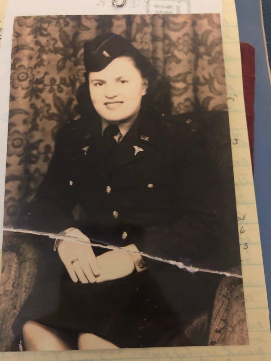 Arlene Johnson is shown in her World War II nursing uniform in 1945. (Nancy LaPointe)