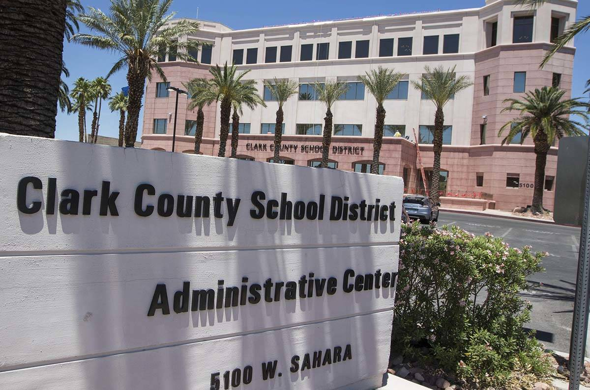 Clark County School District administration building at 5100 West Sahara Ave. in Las Vegas on T ...
