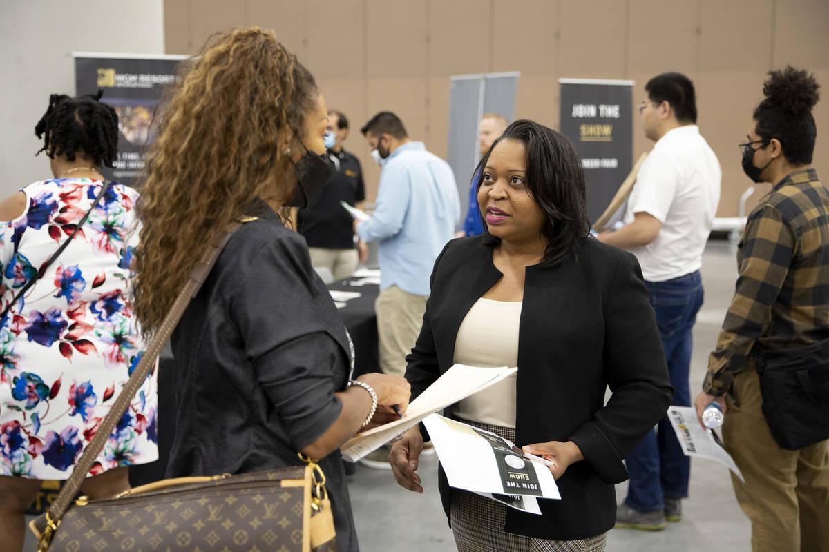 Wanda Gispert, vice president of workforce development for MGM Resorts International, speaks to ...