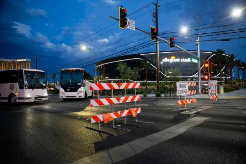 Road barricades close traffic to Hacienda Avenue at Polaris Avenue in advance of a concert at A ...