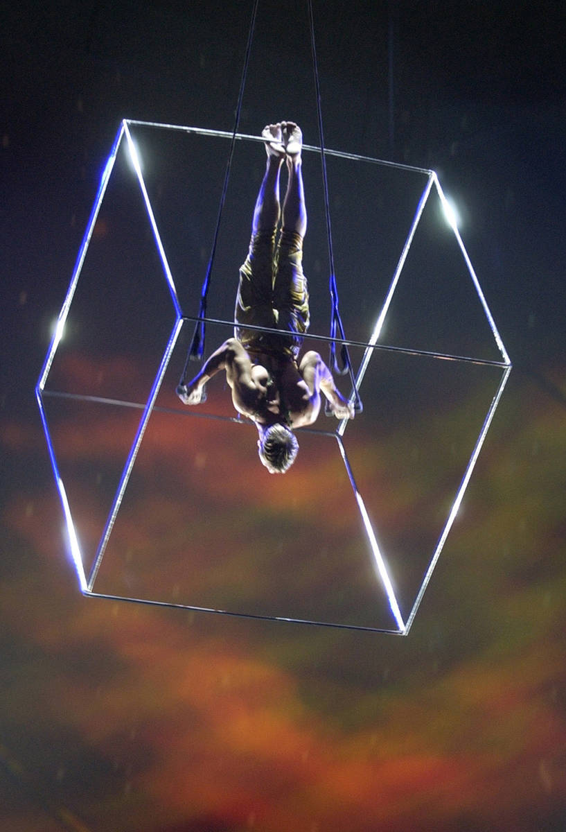 """Paul Bowler of England perfoms the Aerial Cube act during a Cirque du Soleil performance of """"My ..."""