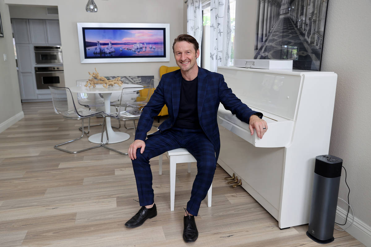 Former Olympian and former Cirque du Soleil performer Paul Bowler at his Las Vegas home Wednesd ...