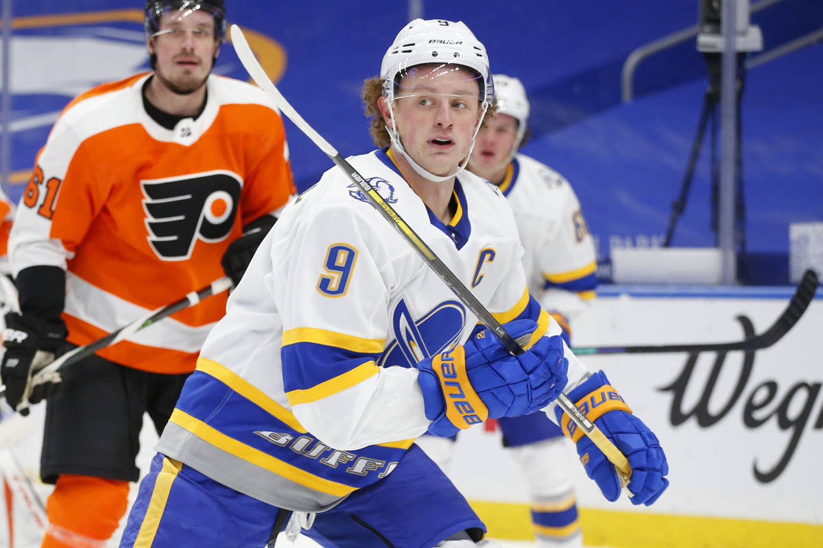 FILE - Buffalo Sabres forward Jack Eichel (9) is shown during the second period of an NHL hocke ...