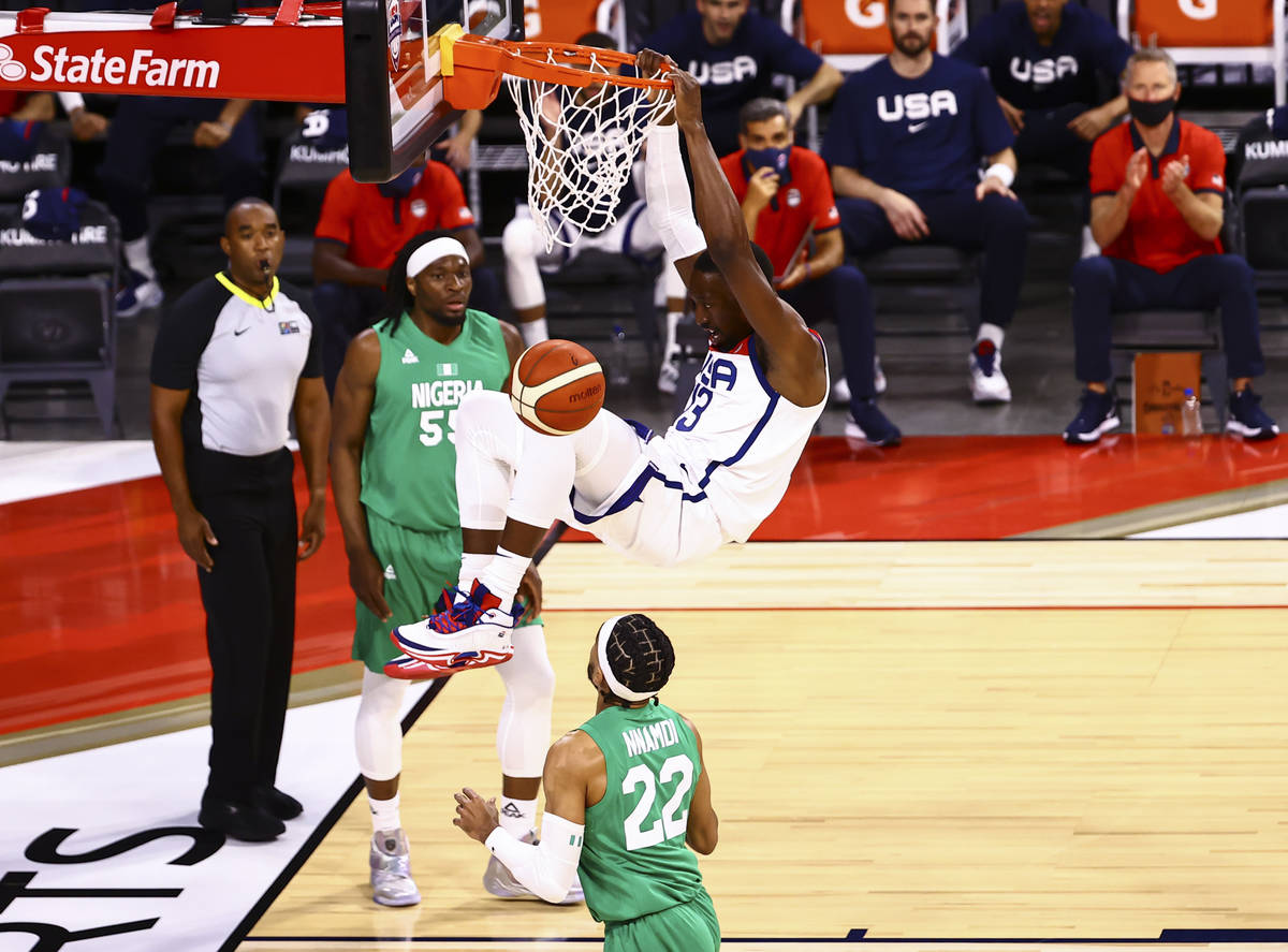 USA Basketball's Bam Adebayo (13) dunks the ball against Nigeria during the first half of an ex ...