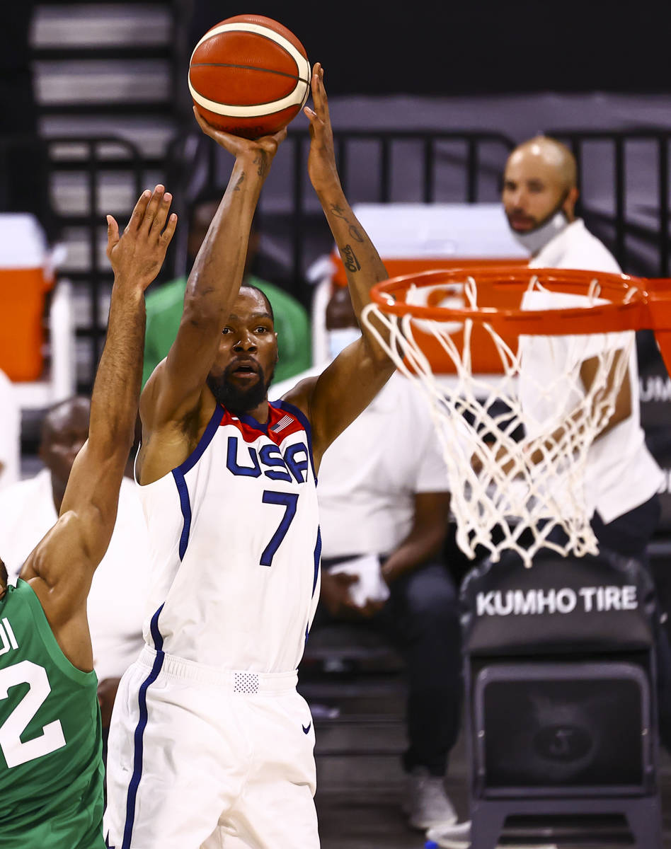 USA Basketball's Kevin Durant shoots against Nigeria during the second half of an exhibition ga ...