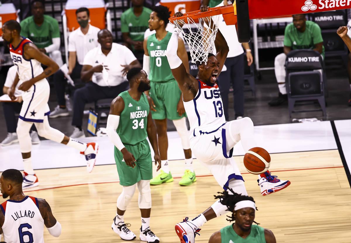 USA Basketball's Bam Adebayo (13) dunks the ball against Nigeria during the second half of an e ...