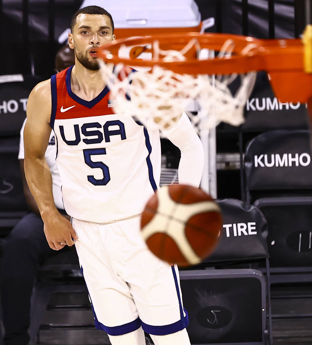 USA Basketball's Zach Lavine follows through on his shot against Nigeria during the second half ...