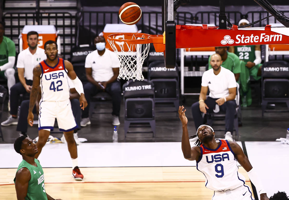 USA Basketball's Jerami Grant (9) follows through on his shot against Nigeria during the second ...