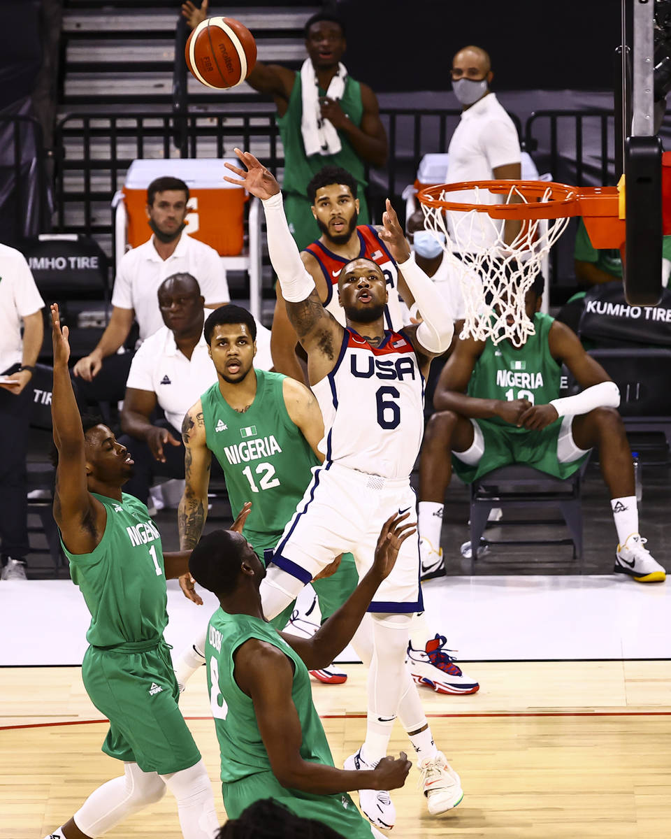 USA Basketball's Damian Lillard (6) shoots against Nigeria during the second half of an exhibit ...