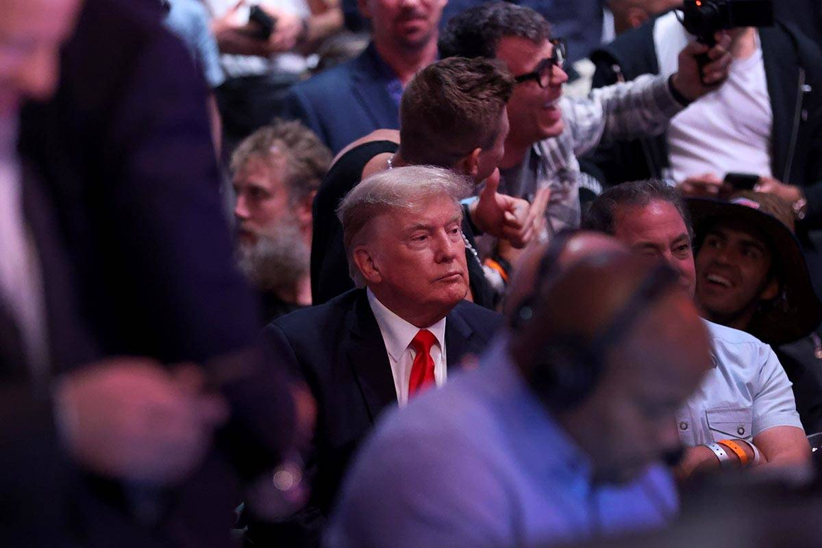 Former President Donald Trump attends the UFC 264 event at T-Mobile Arena in Las Vegas, Saturda ...