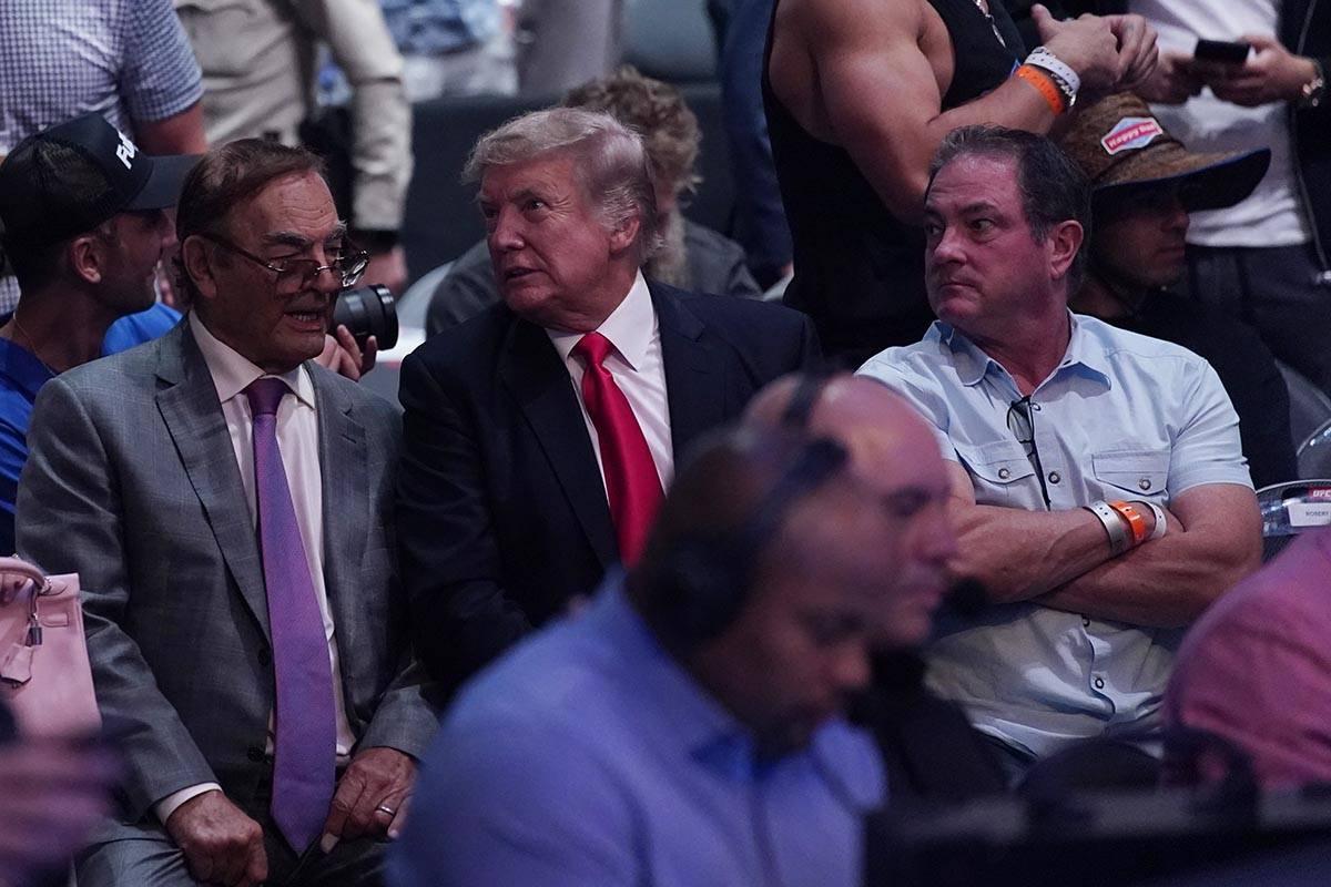 Former U.S. President Donald Trump, center attends UFC 264 Saturday, July 10, 2021, in Las Vega ...