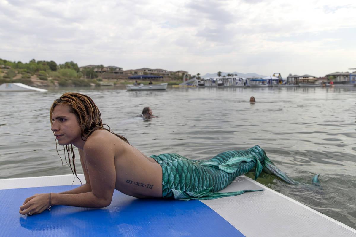 The Traveling Merman participates in a mermaid event at Lake Las Vegas on Saturday, June 19, 20 ...