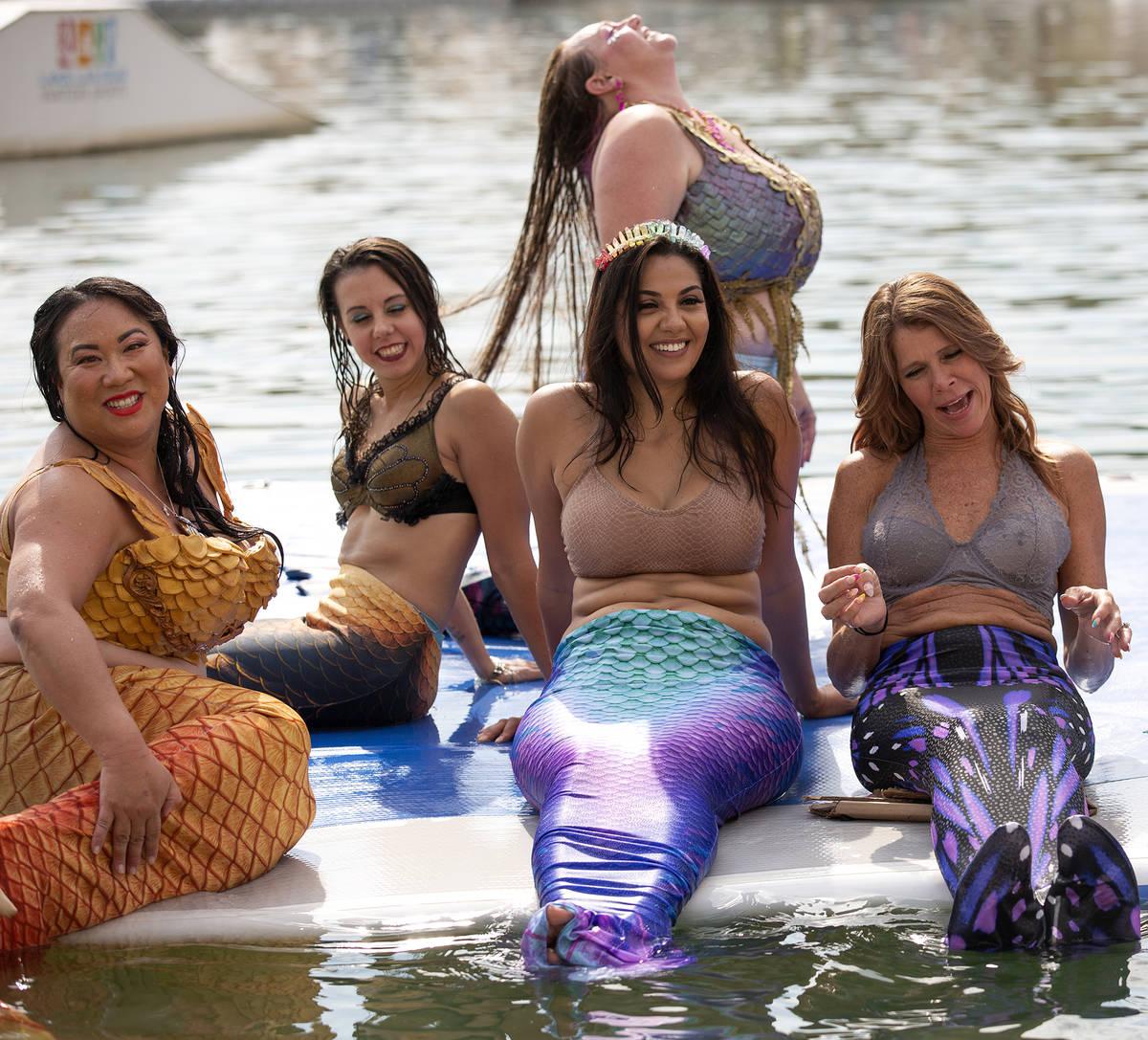Mermaids at Lake Las Vegas on Saturday, June 19, 2021, in Henderson. (Ellen Schmidt/Las Vegas R ...