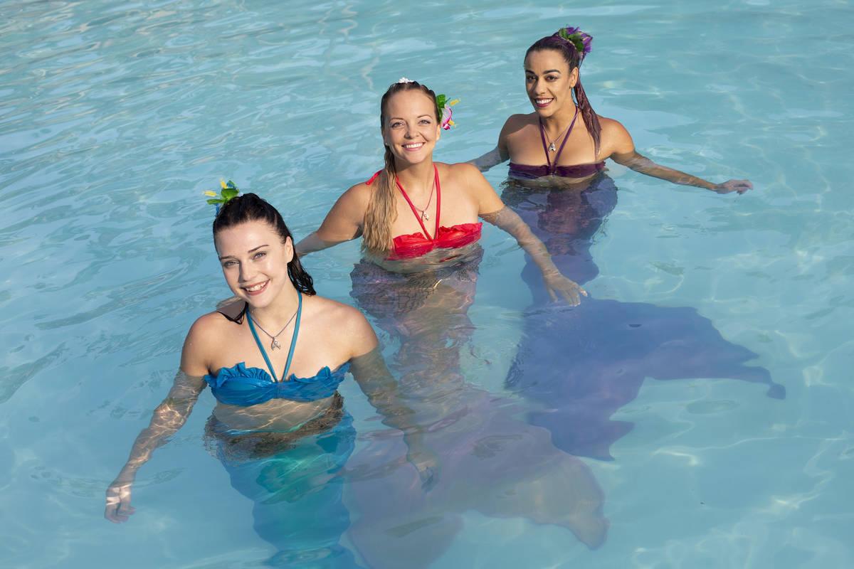 Mermaid Nami, Jenna Obman, left, Mermaid CaySea, Casey McConachie, and Mermaid Luna, Jamie Rive ...