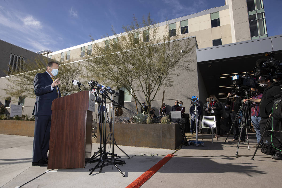 Todd Sklamberg,CEO for Sunrise Hospital & Medical Center, speaks during a press conference at S ...