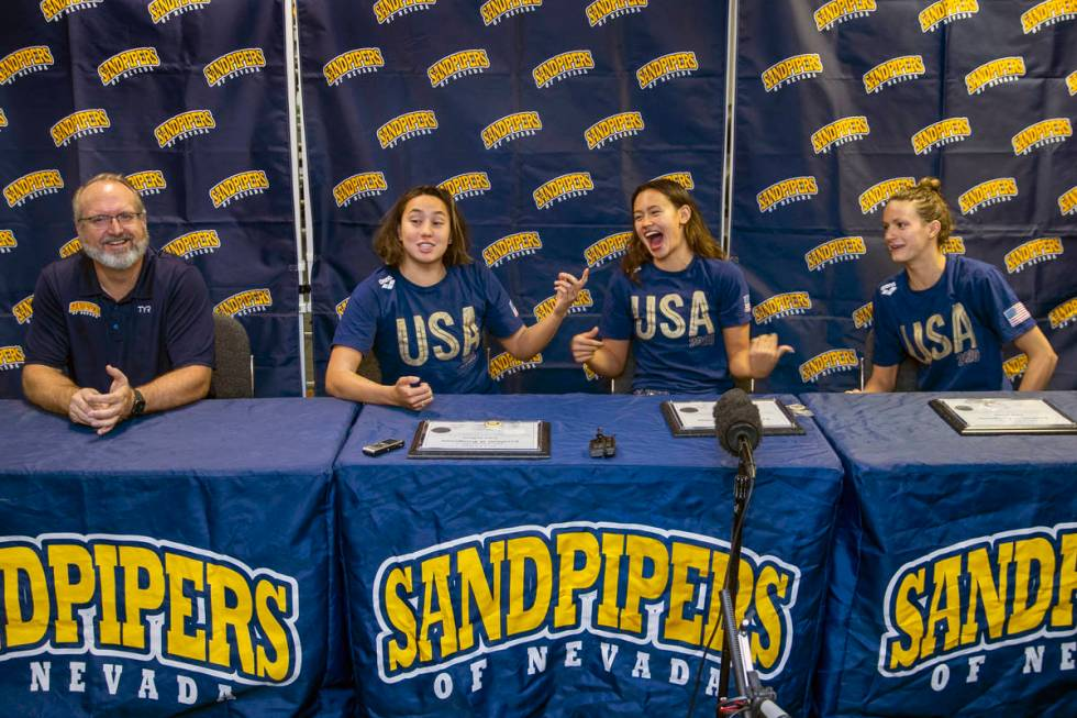 (From left) Sandpipers of Nevada coach Ron Aitken shares a laugh during a press conference with ...