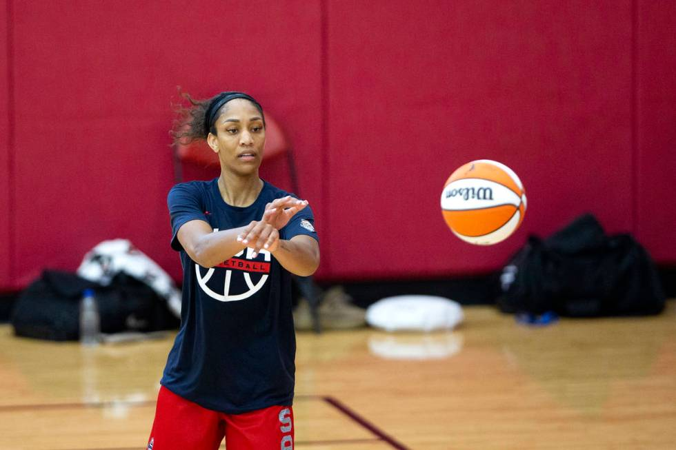A'ja Wilson, who plays for the Las Vegas Aces in the WNBA, passes the ball during a 2021 USA Ba ...