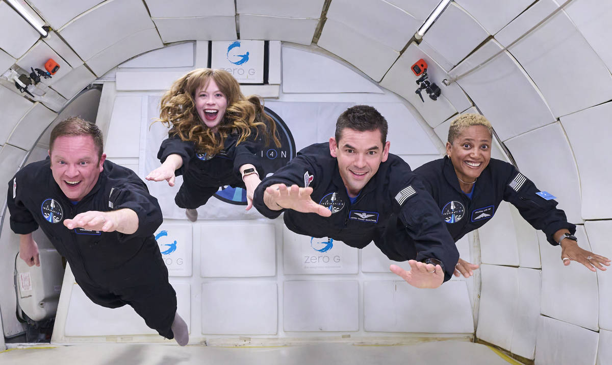 Inspiration 4 crew members Chris Sembrowski, Hayley Arceneaux, Jared Isaacman, and Dr. Sian Pro ...
