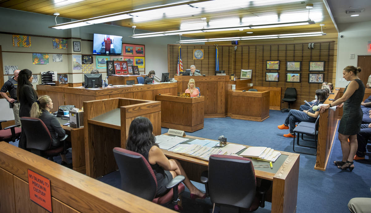 Judge David Gibson Jr., presides as Christopher Candito, a former NLV firefighter charged with ...