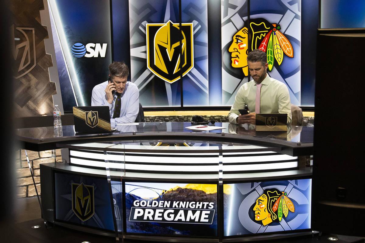 Vegas Golden Knights pregame show host Daren Millard, left, and lead analyst Mike McKenna, righ ...
