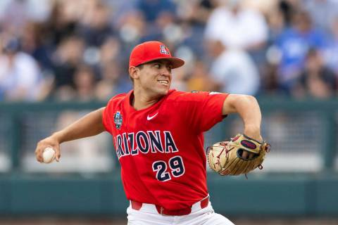 Arizona starting pitcher Chase Silseth (29) pitches against Vanderbilt in the fourth inning dur ...