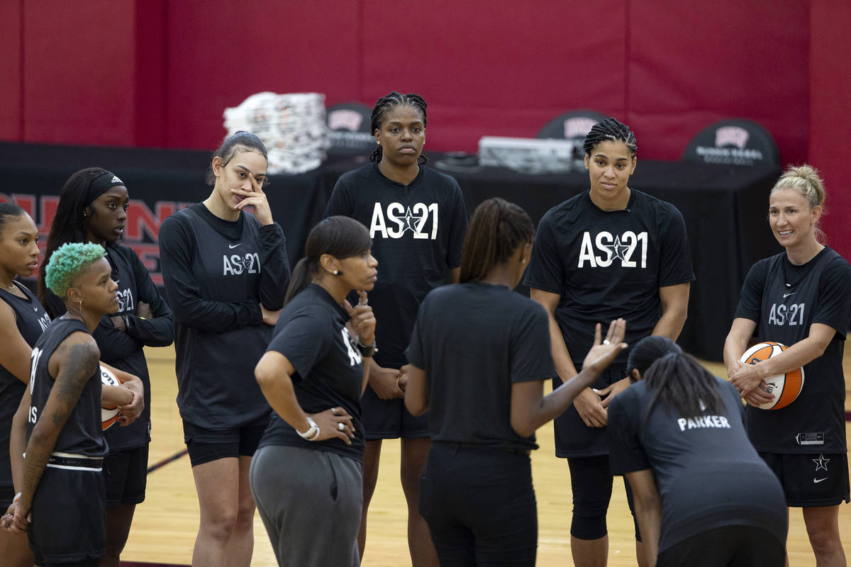 Co-head coaches Tina Thompson, center left, and Lisa Leslie, center right, gather the team duri ...