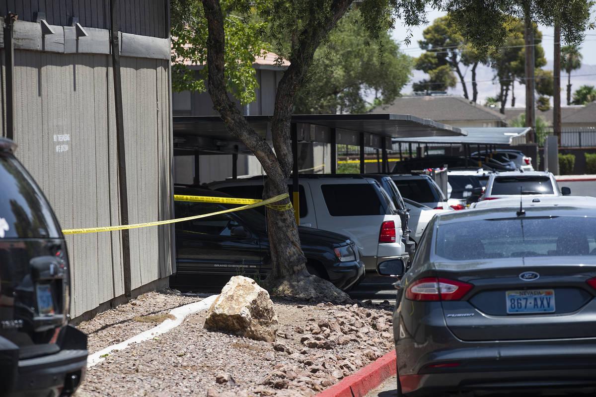 The scene of a homicide investigation in the 1700 block of Karen Avenue in central Las Vegas Tu ...