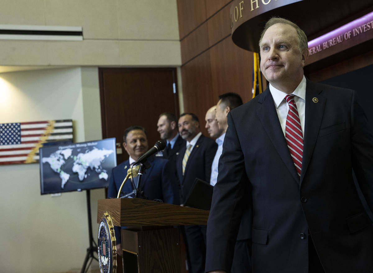 Special Agent in Charge Aaron Rouse of the FBI Las Vegas Field Office leaves the podium after a ...